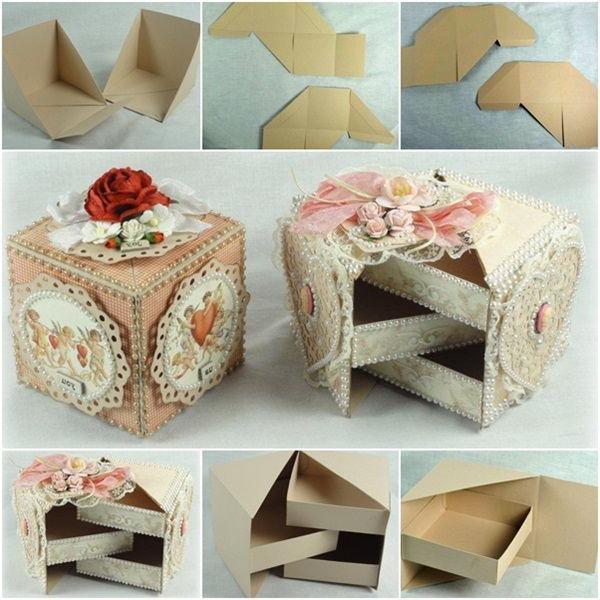 scatola di cartone fatta a mano con coperchio