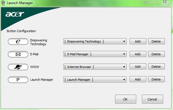 Impostazioni di siti, posta e programmi nell'applicazione Acer Launch Manager