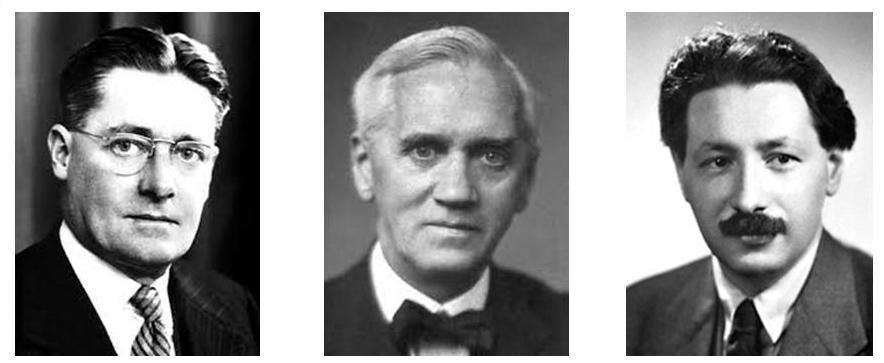 Da sinistra a destra: Florey, Fleming e Chain