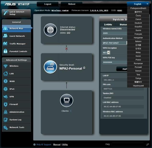 come connettere asus rt n11p