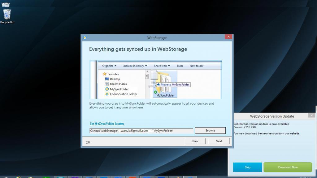 Programma di Webstorage su un laptop