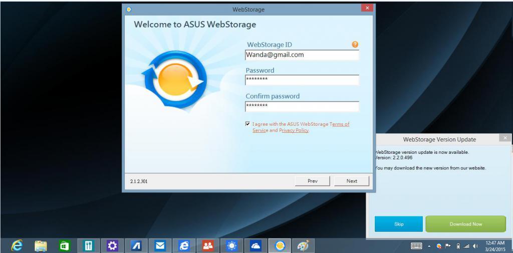 Registrazione nel servizio Webstorage