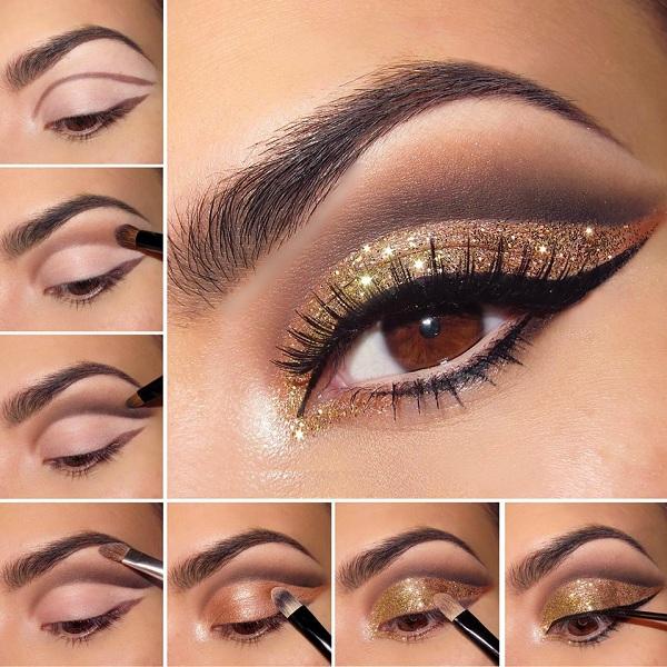 стварајући златну вечерњу шминку
