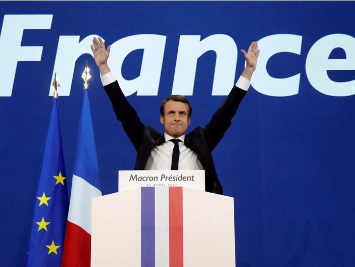 Macron durante le elezioni