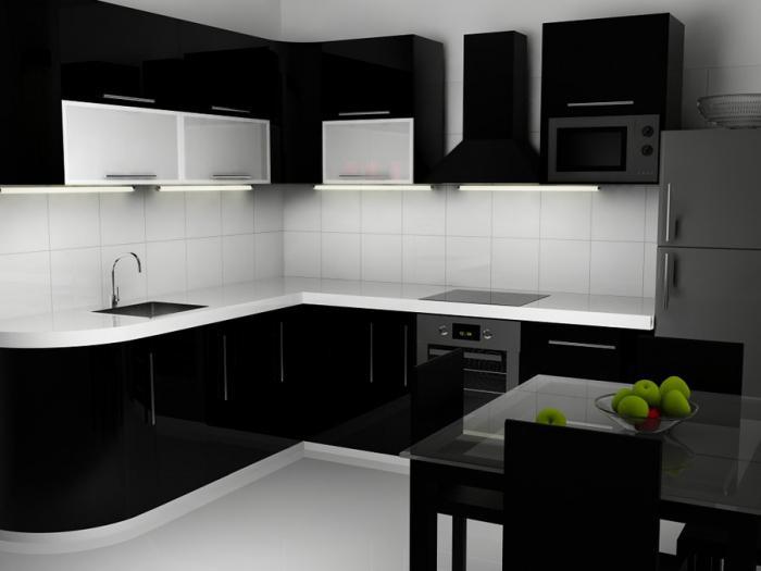 црна и бела кухиња