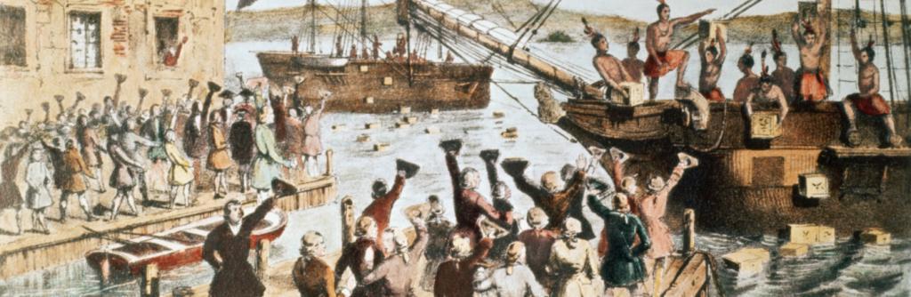 Изображение на съвременното събитие на Бостънското чаено парти