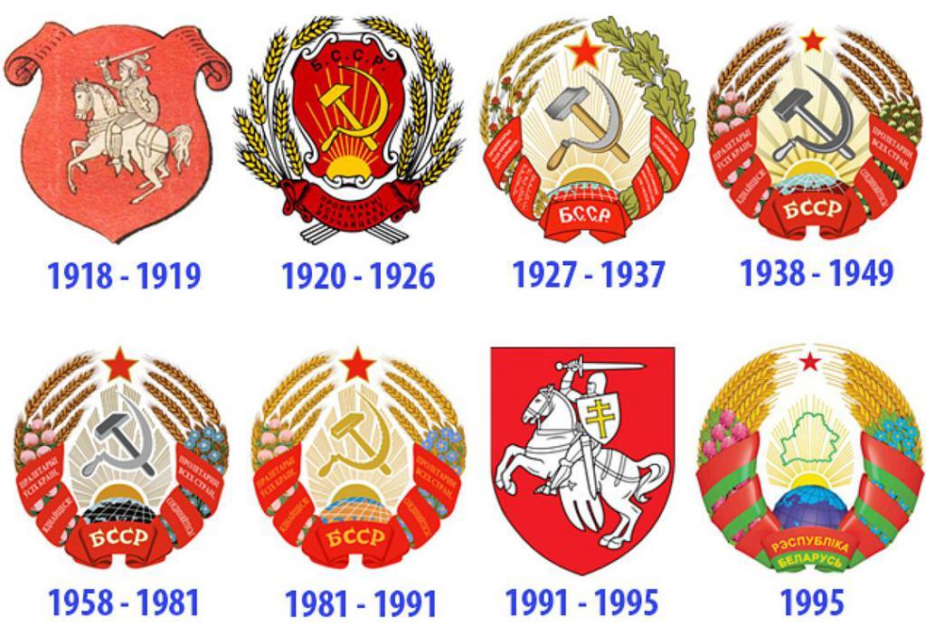 Grbovi Belorusije v različnih letih