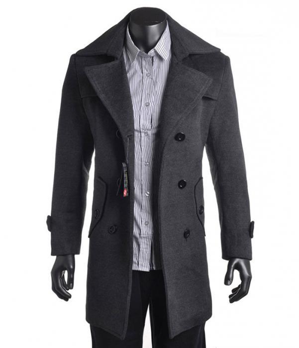 Мъжки палто с кожена яка