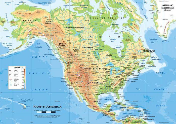 rilievo del Nord America