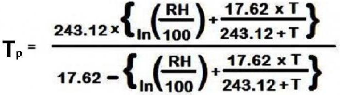 формула на точката на оросяване