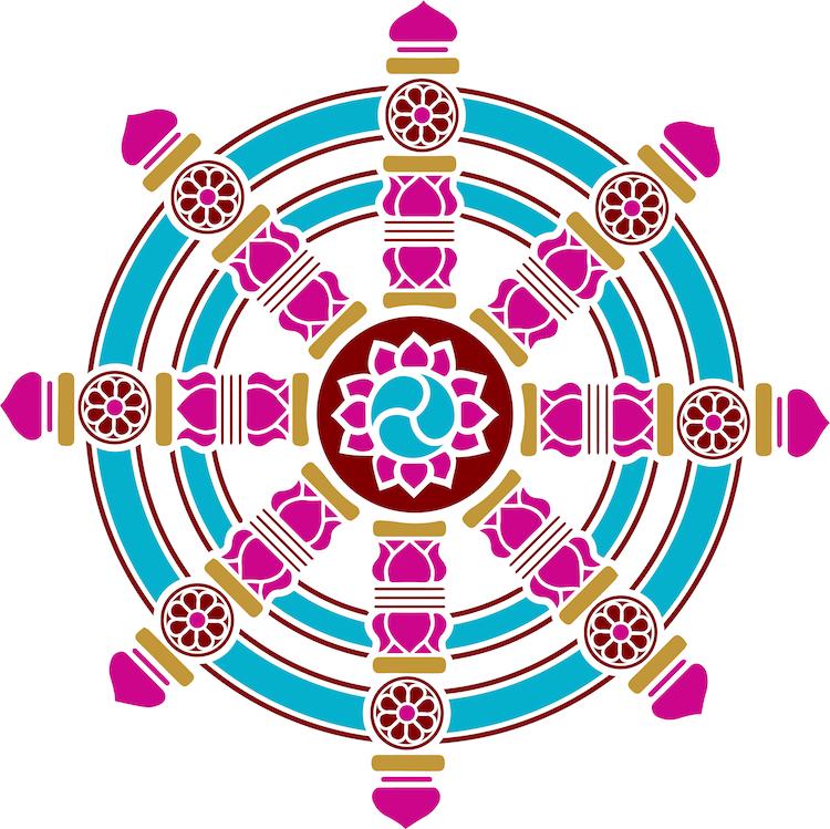 Точак Дхарме често изгледа као волан.