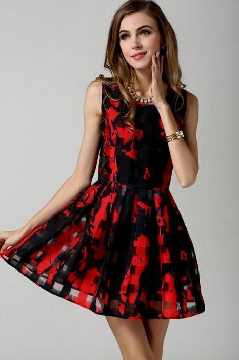 černé šaty s červenými květy