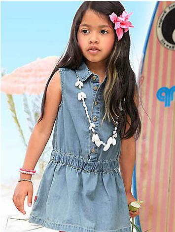 sundress per bambini in denim fantasia