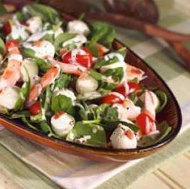 insalata con gamberetti e mozzarella