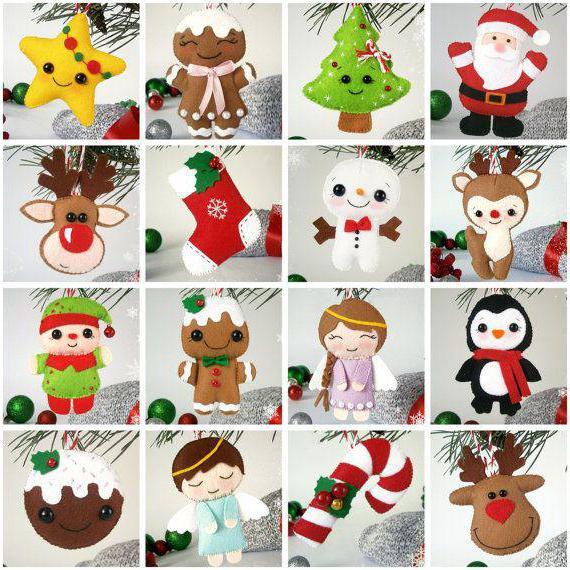 Коледни играчки, изработени от филц