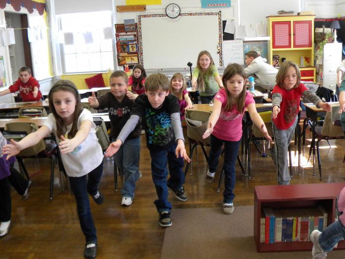 zanimive fizične minute za osnovno šolo