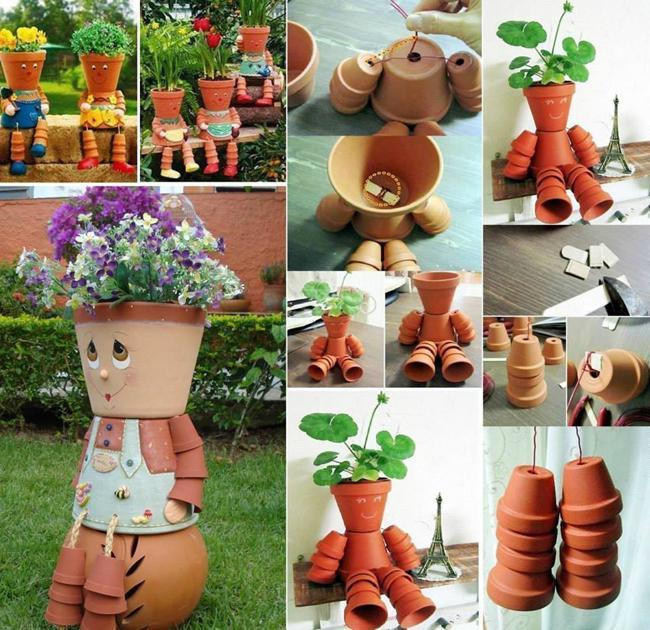 vasi da fiori fai da te da materiali di scarto