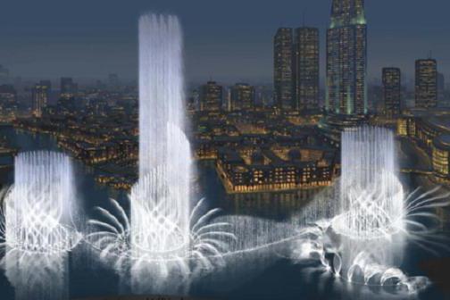 la più grande fontana di Dubai