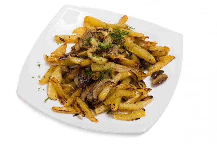 пржени кромпир са печуркама и луком