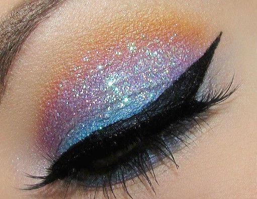 make-up s třpytem