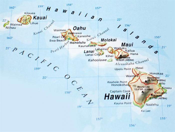 karta na havajskim otocima