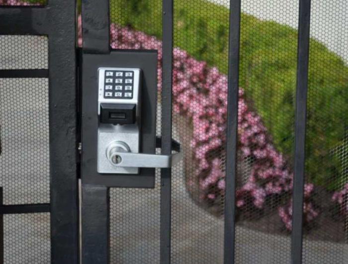 la serratura su un cancello da una pavimentazione professionale