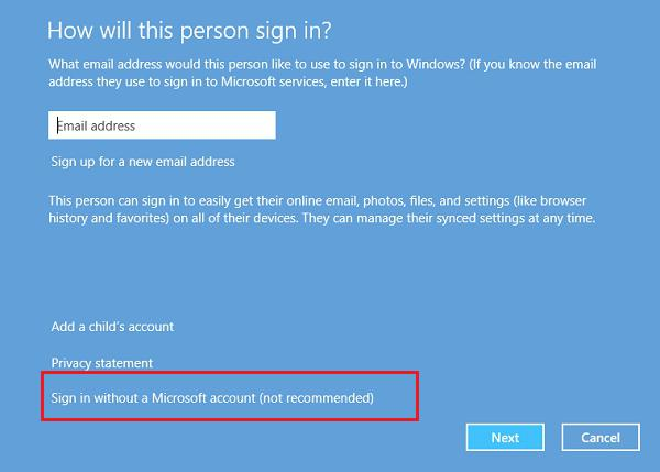 come creare un account Windows