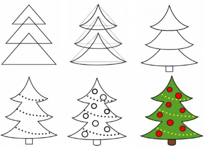 come disegnare un albero di natale a matita, passo dopo passo