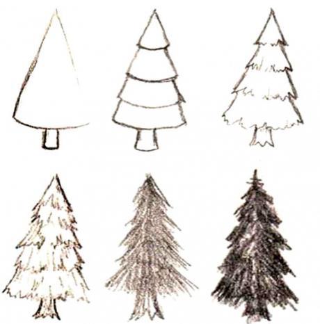 come disegnare un albero di Natale in più fasi