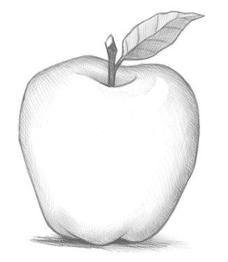kako narisati jabolko s svinčnikom