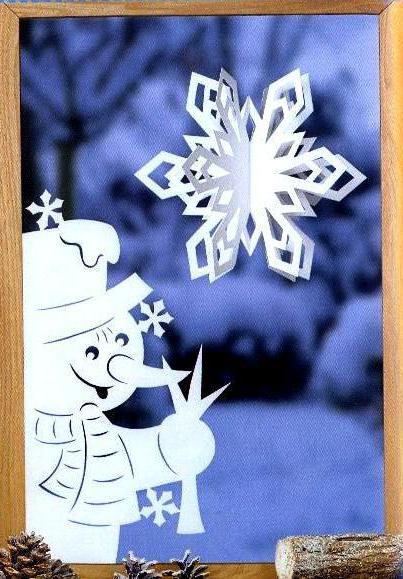 applique di pupazzo di neve di carta