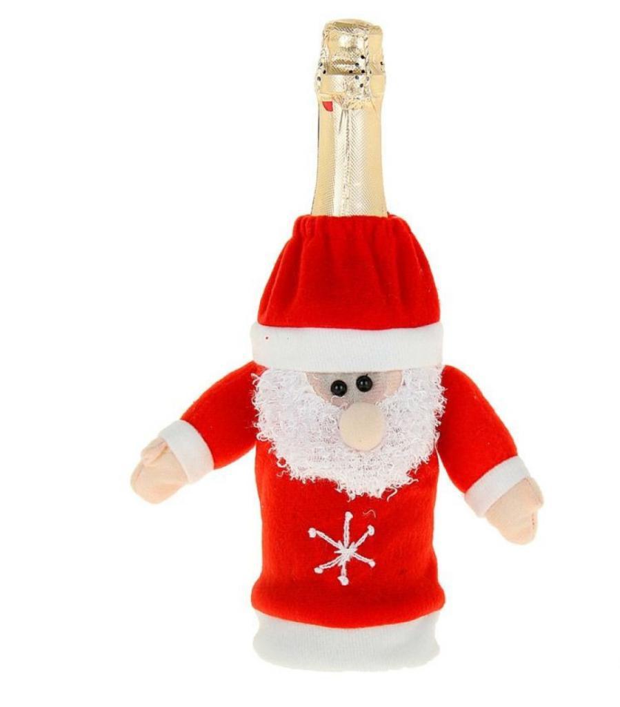 Babbo Natale con una bottiglia di mani