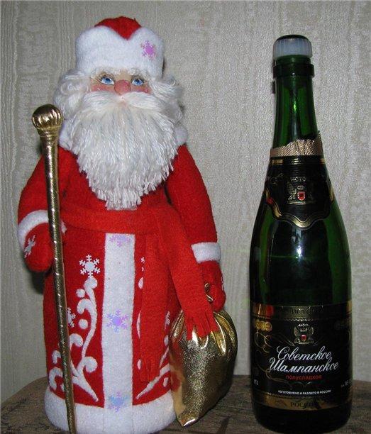 Babbo Natale per una bottiglia di champagne fai da te