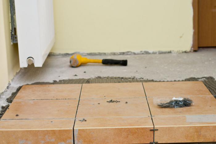 полагане на плочки на бетонен под