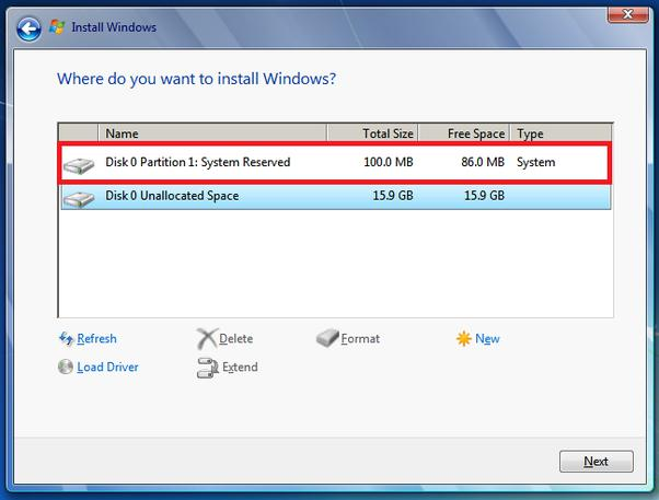 come pulire Windows 7 riservato