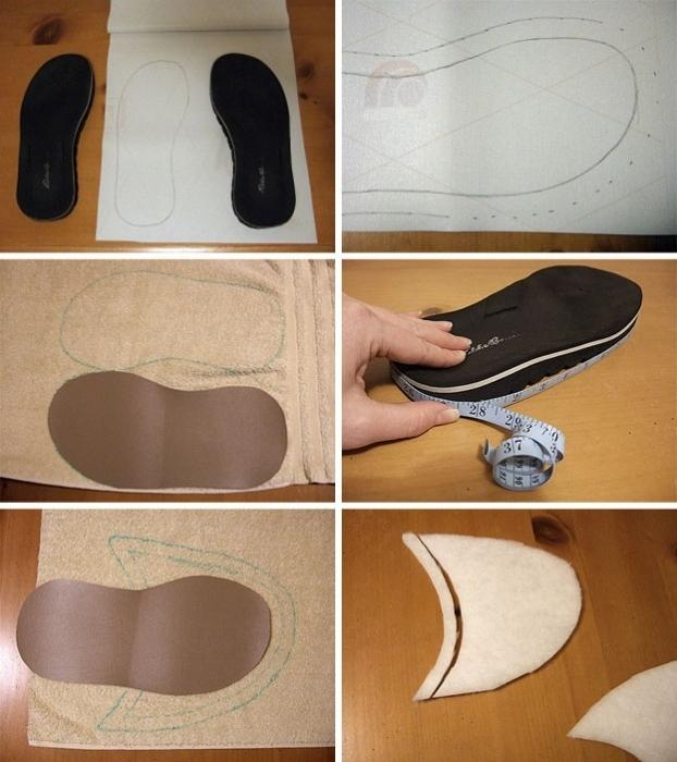 cucire le pantofole con le proprie mani