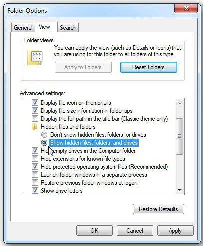Windows 7 prikazuje skrite datoteke in mape