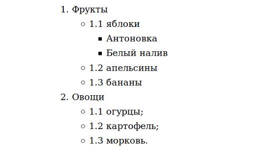 Elenchi html nidificati