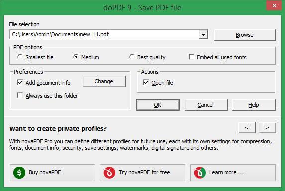 DoPDF виртуален принтер