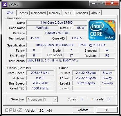 intel core 2 duo e7500 2 93 GHz