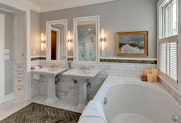 вътрешни бани, комбинирани с тоалетна и душ