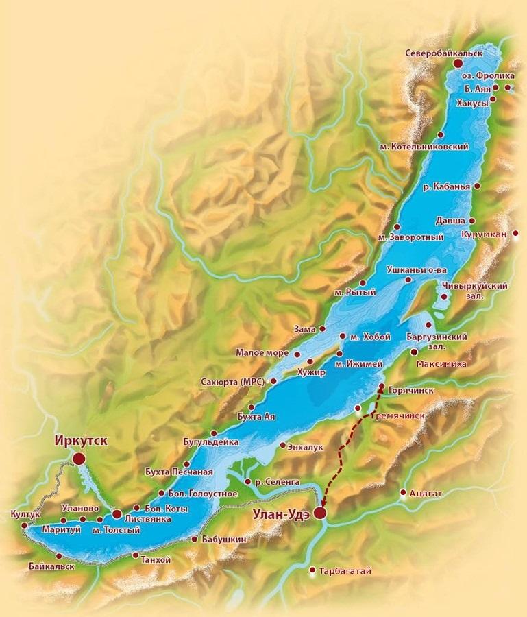 Schema dei dintorni del Lago Baikal