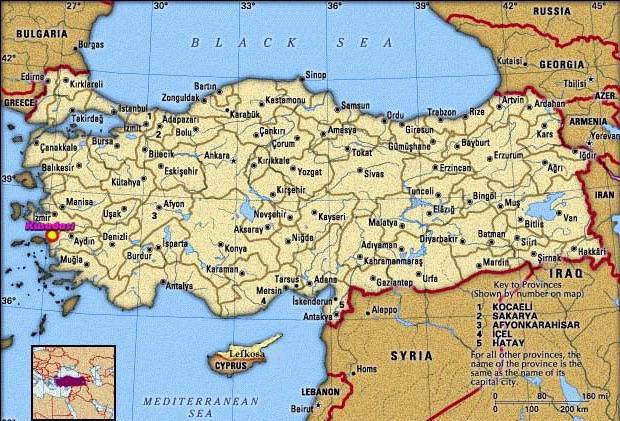 Kusadasi sulla mappa della Turchia