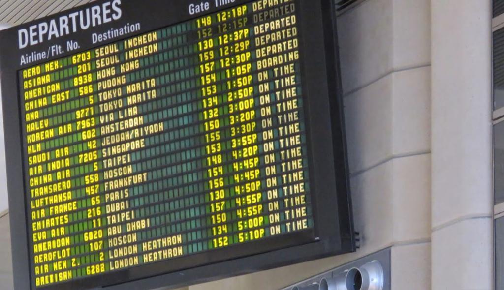 Tabellone segnapunti elettronico dell'Aeroporto di Los Angeles