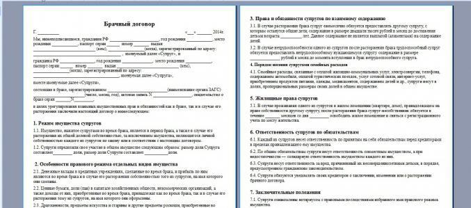 esempio di contratto matrimoniale in Russia
