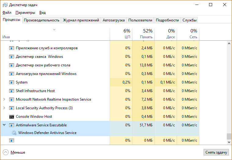 Elabora msmpeng.exe (eseguibile servizio antimalware) in Task Manager