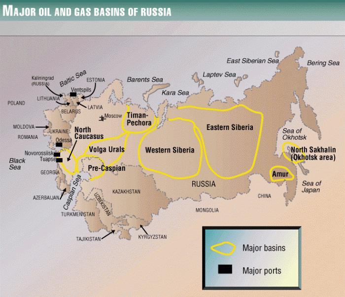 Карта на руската петролна индустрия