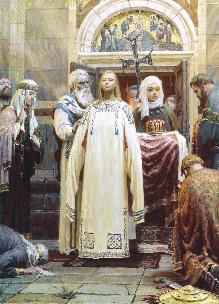 Krst princese Olge v Bizancu