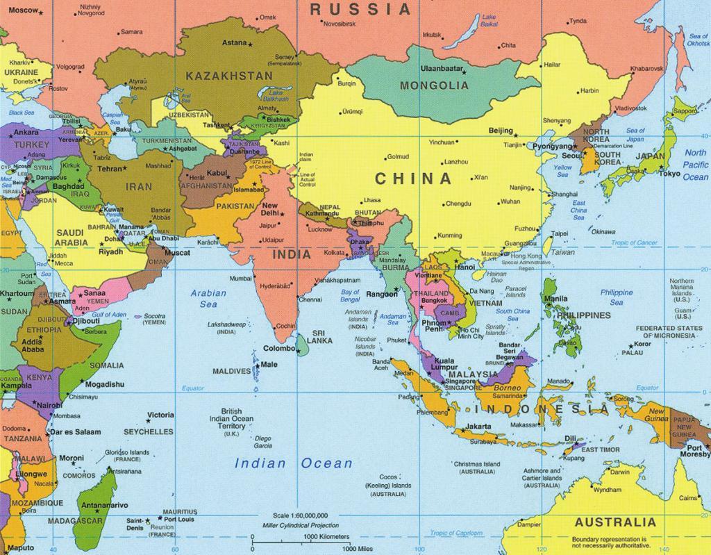Države tuje Azije na zemljevidu