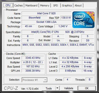 Core i7 920 specifikacije